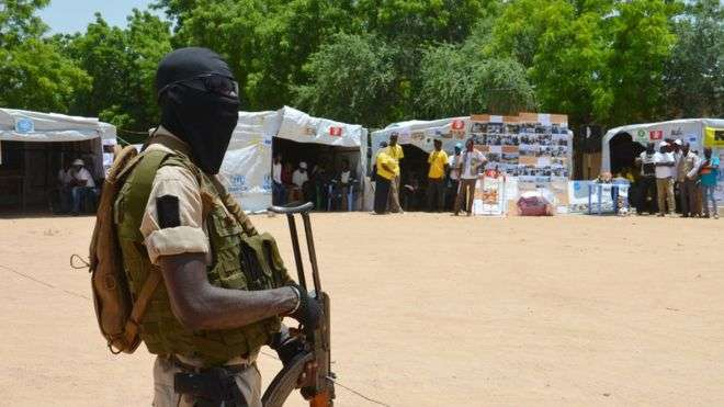 A Niger soldier stands guard at a camp in Diffa, Niger, in this picture from 2016