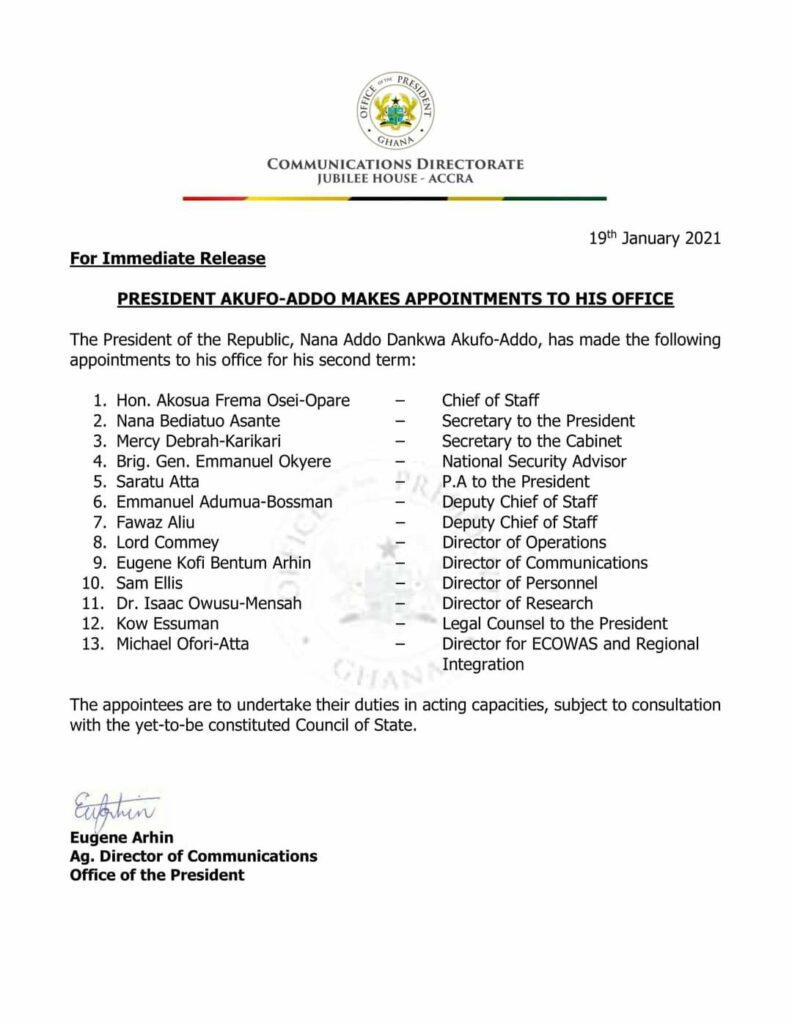 Akufo-Addo keeps Frema Osei-Opare as Chief of Staff
