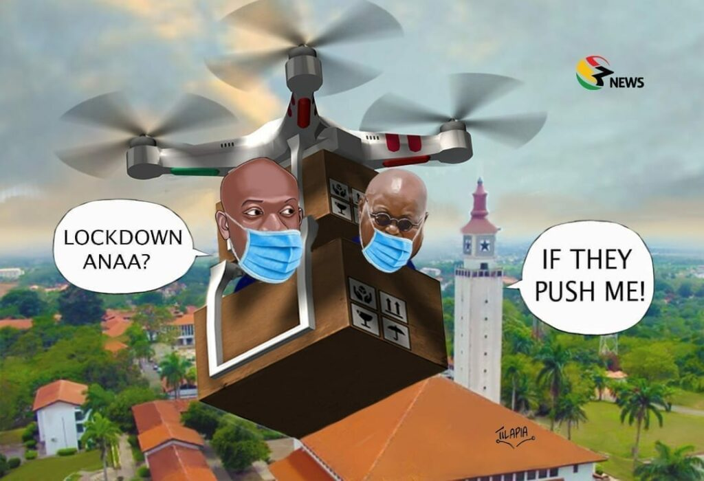 [Cartoon] Fellow Ghanaians mask up: Don't push 'Oga' to lock us down!