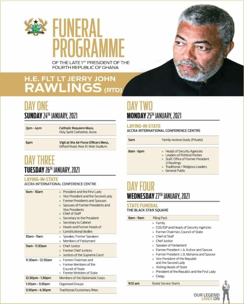 Rawlings' final funeral rites start today Sunday