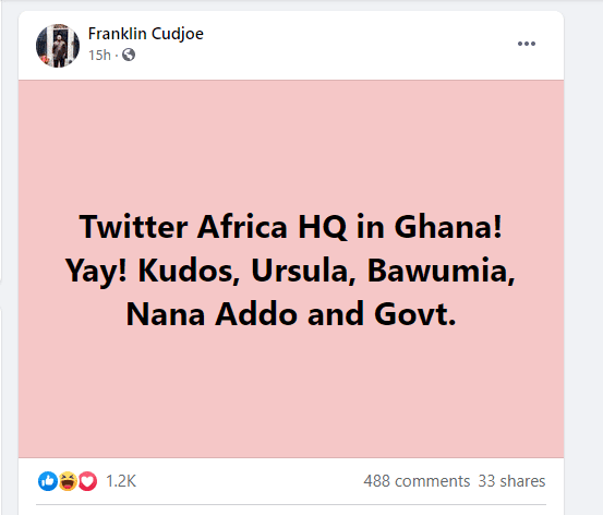 Imani boss commends Akufo-Addo, Bawumia after Twitter picked Ghana for its Africa HQ