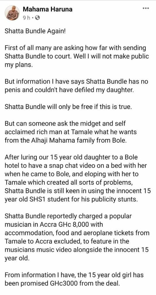 Shatta Bundle accused of charging GH¢8k to co-feature 15-yr-old 'rape' victim in music video