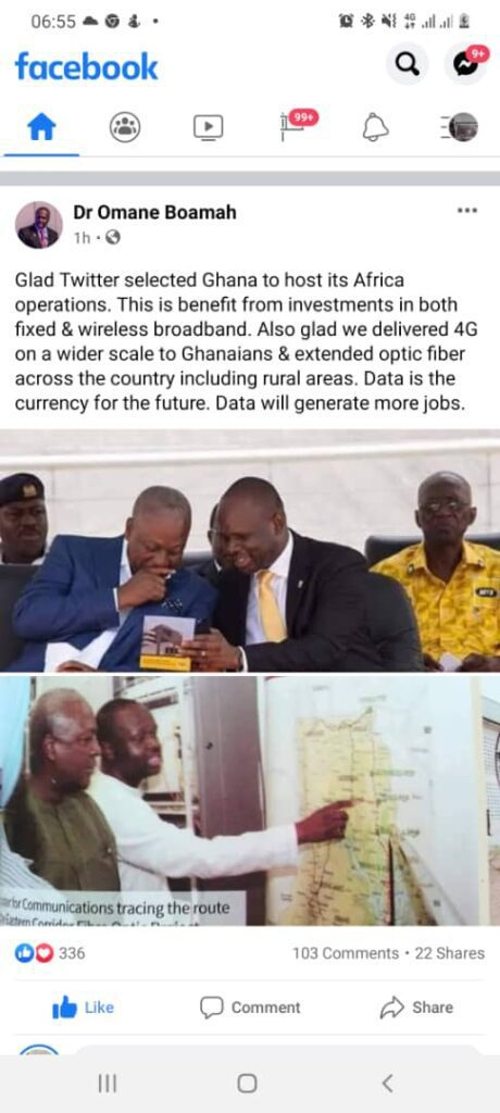 Omane Boamah recounts Mahama's achievements which may have attracted Twitter to Ghana