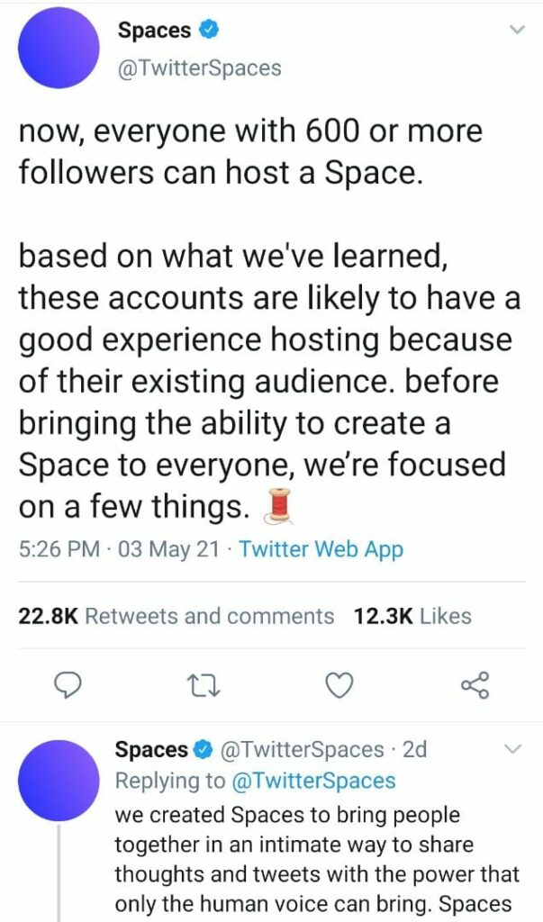 Twitter avails Spaces to accounts with 600 or more followers